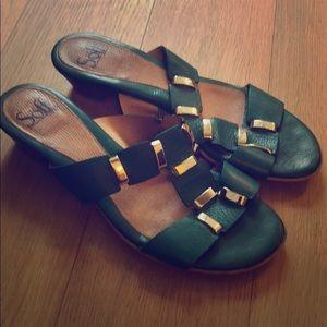 Sofft teal slip on sandals with gold detailing